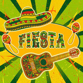 Mexican Fiesta Party Invitation with maracas sombrero and guitar Hand drawn vector illustration poster with grunge background