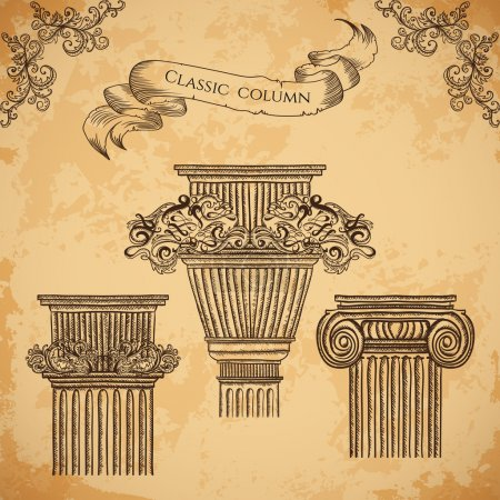 antique and baroque classic style column vector set. Vintage architectural details design elements on grunge background in sketch style