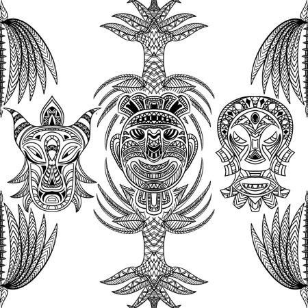 Illustration pour Motif sans couture avec masque tribal et ornement aztèque géométrique latino-américain. illustration vectorielle dessinée à la main - image libre de droit