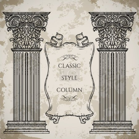 Antique and baroque classic style column and ribbon banner vector set. Vintage architectural details design elements on grunge background in sketch style