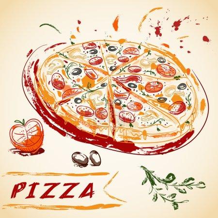 Illustration pour Vintage main dessinée pizza italienne savoureuse tranchée. Illustration vectorielle . - image libre de droit