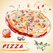 Vintage hand drawn Italian tasty sliced pizza Vector illustration