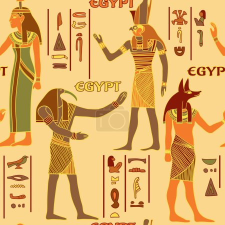 Vintage seamless pattern with egyptian gods and ancient egyptian hieroglyphs. Retro hand drawn vector illustration
