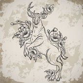 Deer standing on hind legs with bouquets of flowers in sketch style. Vintage vector hand drawn illustration on aged grunge background. Tattoo design, retro card, print, t-shirt, postcard, poster.
