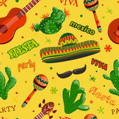 Seamless pattern Fiesta party with mexican guitar maracas sombrero mustache and cactusesHand drawn vector illustration