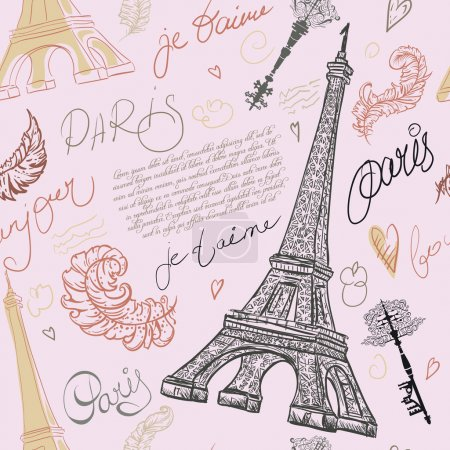 Paris. Vintage seamless pattern with Eiffel Tower, ancient keys, feathers and hand drawn lettering. Retro hand drawn vector illustration.