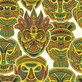 Tribal mask collection Colorful seamless pattern with ethnic ornament Retro hand drawn vector illustration