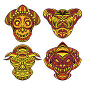 Tribal mask Collection of masks with ethnic geometric ornament Hand drawn vector illustration