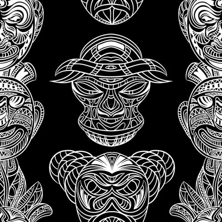 Seamless pattern with collection of Tribal mask. Retro black and white highly detailed hand drawn vector illustration