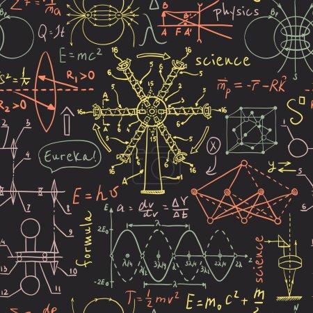 Illustration pour Retour à l'école : objets de laboratoire de science. Doodle vintage esquisse modèle sans couture de style. Illustration vectorielle dessinée main . - image libre de droit