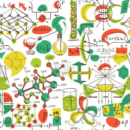 Illustration for Back to School: science lab objects doodle vintage style sketches seamless pattern, vector illustration. - Royalty Free Image