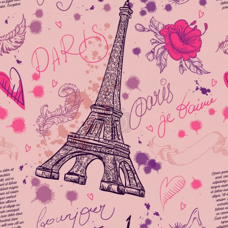 Illustration for Paris. Vintage seamless pattern with Eiffel Tower, flowers, feathers and text. Retro hand drawn vector illustration. - Royalty Free Image