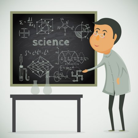 Scientist with chalk board in laboratory. Vector cartoon illustration