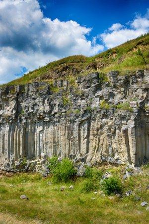 Natural basalt columns in Racos, Brasov