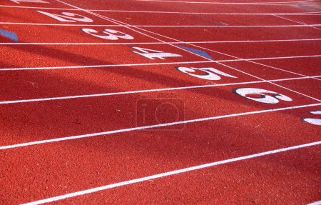 Photo for Track field lanes at starting line - Royalty Free Image