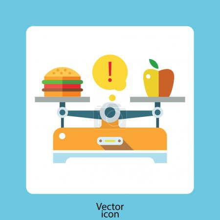 Illustration for Lose weight diet balance poster with scales and apple, vector illustration - Royalty Free Image
