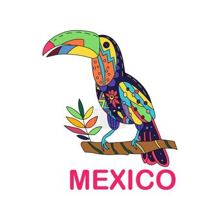 Photo pour Image vectorielle isolée d'un oiseau mexicain. Toucan assis sur une branche. Oiseau mexicain traditionnel aux couleurs et fleurs colorées. Illustration vectorielle . - image libre de droit