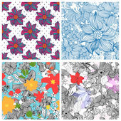 Set of abstract seamless patterns with isolated hand drawn flowers in doodle style Vector illustration
