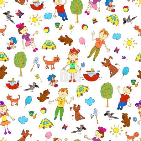 Photo pour Doodle modèle sans couture de la vie mignonne des enfants, y compris les animaux de compagnie, jouets, plantes, choses pour le sport et les éléments célestes. Illustration vectorielle . - image libre de droit