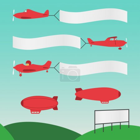 Vector illustration of various planes with banners for text