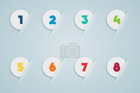 Infographic 3D Numbered Step Bubbles 1 to 8 on a gradient background vector made in illustrator