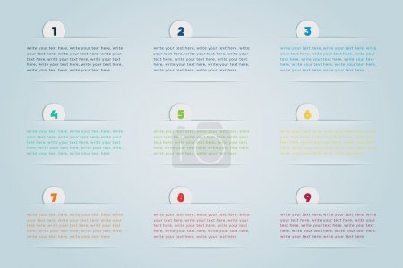 Infographic 3D Numbered Step Bubbles 1 to 9 with s...