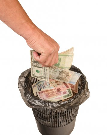 Money in the trash, the collapse of the financial market crisis