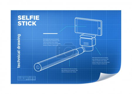 Photo for Technical Illustration with isometric line selfie stick drawing on the blueprint - Royalty Free Image