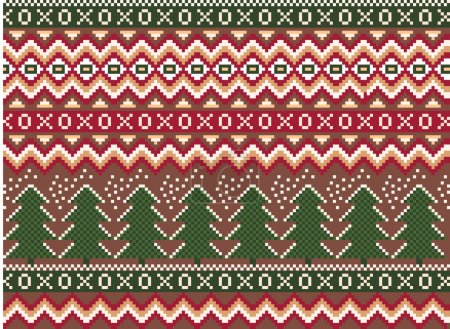 pixel seamless winter holiday pattern with pines and snowflakes