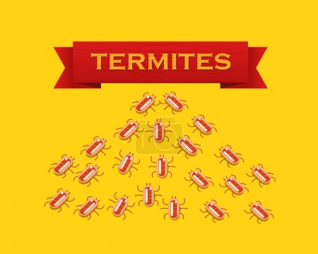 Red colony of termites. flat style illustration.