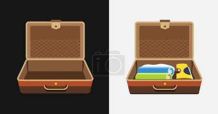 Illustration for Packed and empty suitcases for summer holiday - vector isolated illustration. - Royalty Free Image