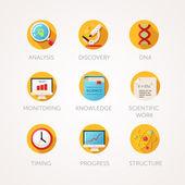 Soubor ikony věda. Moderní ploché barevné ilustrace. Fyzika a biologie související ikony