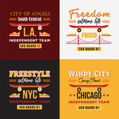 Vector skateboarding illustrations set for print on t-shirts Independent teams of Los Angeles New York Chicago and San Francisco