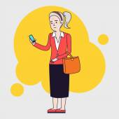 Intellegent modern elderly woman using mobile phone Grandmother reading message on smartphone Linear flat design