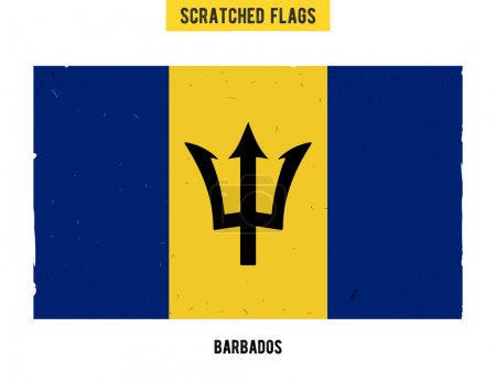 Barbados grunge flag with little scratches on surface. A hand drawn scratched flag of Barbados with a easy grunge texture. Vector modern flat design