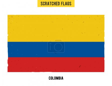 Colombian grunge flag with little scratches on surface. A hand drawn scratched flag of Colombia with a easy grunge texture. Vector modern flat design
