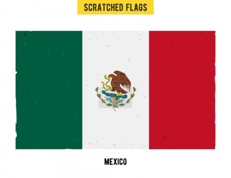 Mexican grunge flag with little scratches on surface. A hand drawn scratched flag of Mexico with a grunge texture.