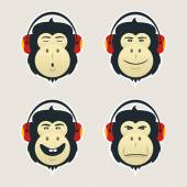 Set of monkey heads with headphones DJ monkey listens music Collection of an emotional faces Emoji icons isolated on white background Vector stickers
