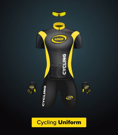 Realistic vector cycling uniform template. Black and yellow. Branding mockup. Bike or Bicycle clothing and equipment. Special kit: short sleeve jersey, gloves and sunglasses. Front view.