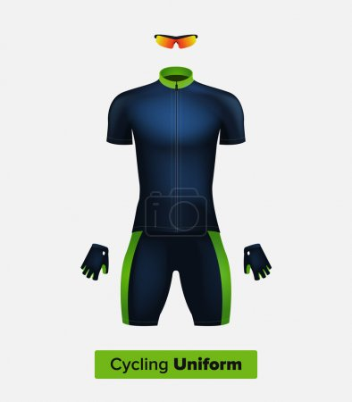 Realistic vector cycling uniform template. Blue and green. Branding mockup. Bike or Bicycle clothing and equipment. Special kit: short sleeve jersey, gloves and sunglasses. Front view.