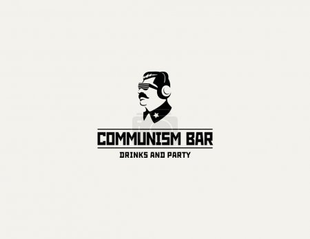 Communism style logo restaurant bar design vector template. Soviet dictator head icon silhouette concept for night club party.