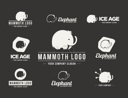 Mammoth silhouette vector logo set. Collection of the elephant s
