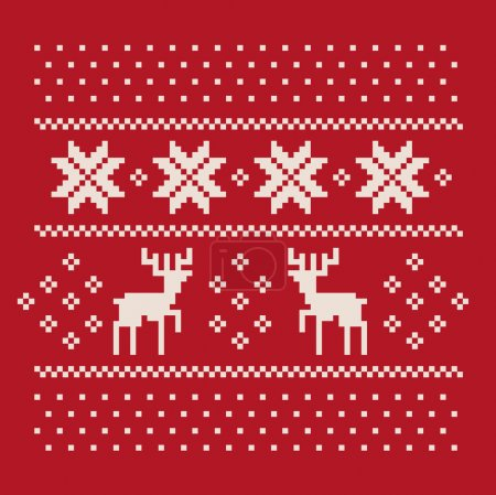 Christmas winter pattern print for jersey or t-shirt. Pixel deers and snowflakes on the red background
