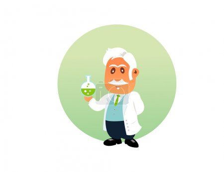 Chemist funny illustration on the white background