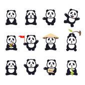 set of cute funny cartoon pandas