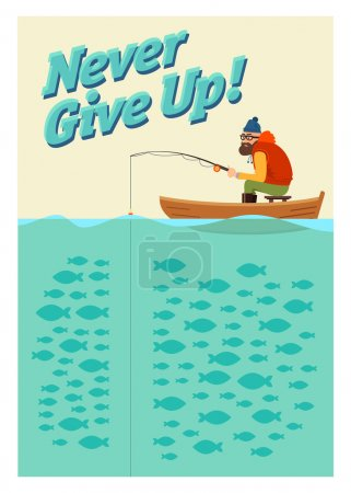 Illustration for Fishing on the boat. Vector poster never give up - Royalty Free Image