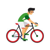 Man ride by road bicycle Cycling sport vector flat illustration