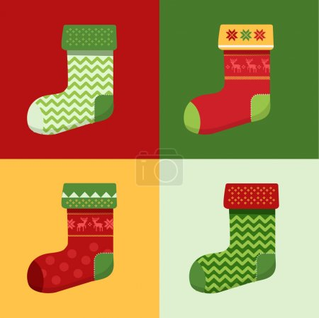 Flat winter Christmas Socks set with pixel deers and christmas trees.