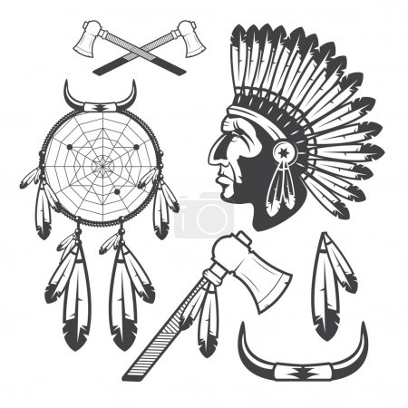 American Indian Clipart Icons and Elements, isolated on white background