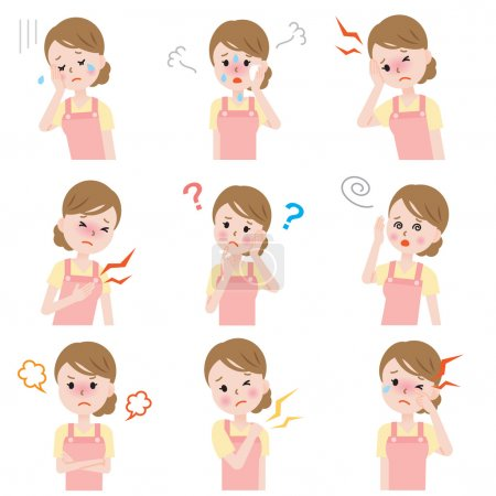Illustration for Set of common woman menopause symptoms: hot flashes, irritability,depression,poor memory,joint pain,dizziness,headache,throbbing,and dry eyes during menopause. - Royalty Free Image